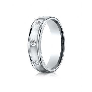 14k White Gold 6mm Comfort-Fit burnish Set 8-Stone Diamond Eternity Ring .32ct
