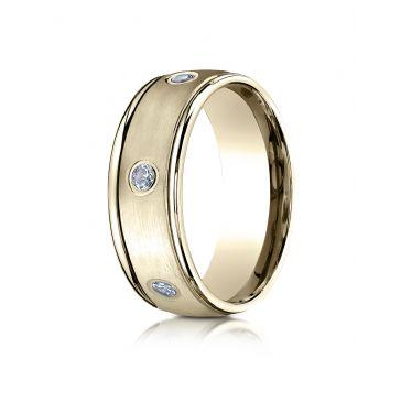 18k Yellow Gold 8mm Comfort-Fit burnish Set 6-Stone Diamond Eternity Ring (.48ct)