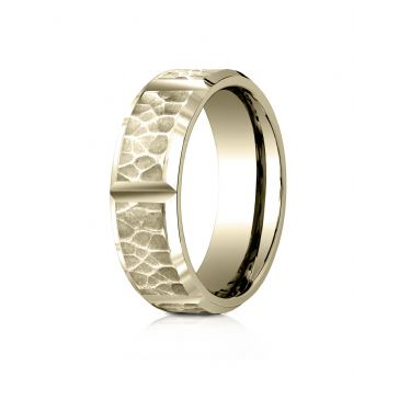 18 Karat Yellow Gold 7mm Comfort-Fit Hammered Finish Grooved Carved Design Band