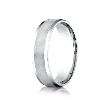 14k White Gold 6mm Comfort-Fit Satin-Finished with High Polished Beveled Edge Carved Design Band
