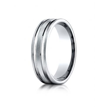 10k White Gold 6mm Comfort-Fit Satin Finished with Parallel Grooves Carved Design Band