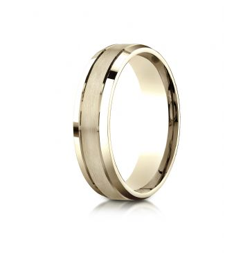 18k Yellow Gold 6mm Comfort-Fit Satin-Finished High Polished Beveled Edge Carved Design Band