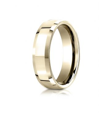 18k Yellow Gold 6mm Comfort-Fit High Polished Carved Design Band