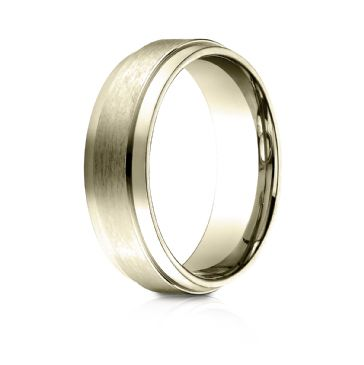 18k Yellow Gold 7mm Comfort-Fit Satin-Finished with High Polished Drop Edge Carved Design Band