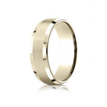 18k Yellow Gold 7mm Comfort-Fit Satin-Finished with High Polished Beveled Edge Carved Design Band
