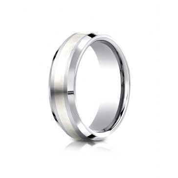 Cobaltchrome- Silver 7mm Comfort-Fit Satin-Finished Silver Inlay Design Ring