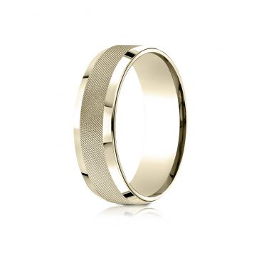 14 Karat Yellow Gold 7mm Comfort-Fit High Polish Round Edge Cross Hatch Center Design Band