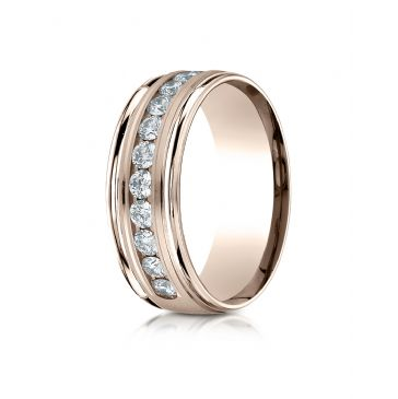 14k Rose Gold 8mm Comfort-Fit Channel Set 12-Stone Diamond Eternity Ring (.96ct)