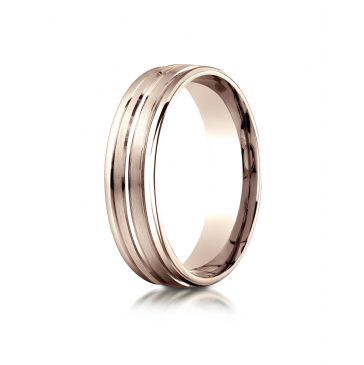14k Rose Gold 6mm Comfort-Fit Satin-Finished High Polished Center Trim and Round Edge Carved Design Band