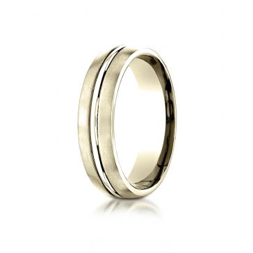 14k Yellow Gold 6mm Comfort-Fit Satin-Finished with High Polished Center Cut Carved Design Band