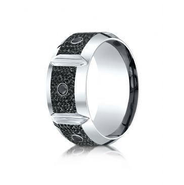 Cobaltchrome 10mm Comfort Fit Blackened Micro hammer Diamond Ring (0.20)ctw