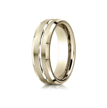 14k Yellow Gold 6mm Comfort-Fit Satin-Finished with High Polished Cut Carved Design Band