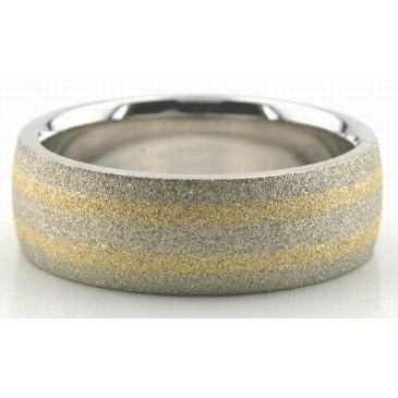 14K Gold Two Tone 7mm Double Gradient Wedding Bands 214
