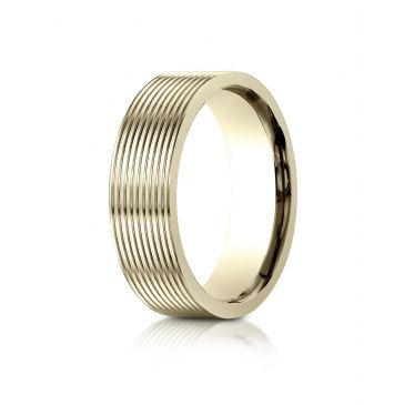14k Yellow Gold 7mm Comfort-Fit Satin-Finished with Threaded Pattern Carved Design Band
