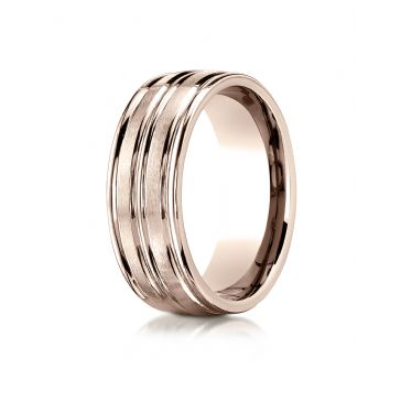 14k Rose Gold 8mm Comfort-Fit Satin-Finished High Polished Center Trim and Round Edge Carved Design Band