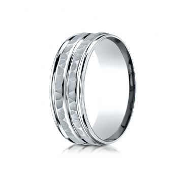 14k White Gold 8mm Comfort-Fit Hammer-Finished High Polished Center Trim and Round Edge Carved Design Band