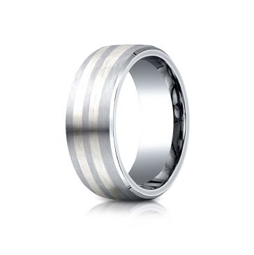 Cobaltchrome- Silver 8mm Comfort-Fit Satin-Finished Parallel Silver Inlay Design Ring
