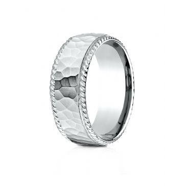 18k White Gold 8mm Comfort-Fit Rope Edge Hammered Finish Design Band