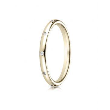14k Yellow Gold 2mm  Comfort-Fit Burnish Set 8-Stone Diamond Eternity Ring (.10ct)