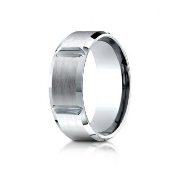 14k White Gold 8mm Comfort-Fit Satin-Finished Grooves Carved Design Band
