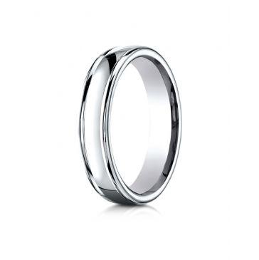 18k White Gold 4mm Comfort-Fit Satin-Finished high polish finish round edge Design band