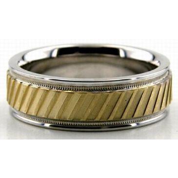 14K Gold Two Tone 6.5mm Diamond Cut Slash Wedding Bands 205
