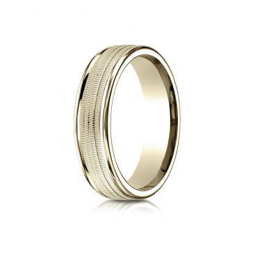 14k Yellow Gold 6mm Comfort-Fit  multi milgrain center high polish round edge Design band