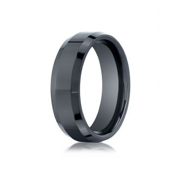Ceramic 7mm Comfort-Fit High Polished Beveled Edge Design Ring