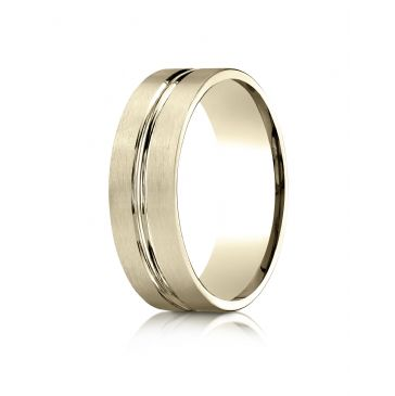 14k Yellow Gold 7mm Comfort-Fit Satin-Finished with High Polished Center Cut Carved Design Band