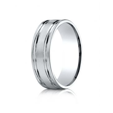 10k White Gold 7mm Comfort-Fit Satin-Finished with Parallel Grooves Carved Design Band