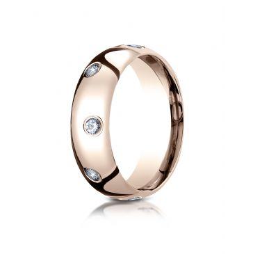 14k Rose Gold 6mm Comfort-Fit Burnish Set 8-Stone Diamond Eternity Ring .32ct