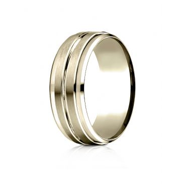 14k Yellow Gold 8mm Comfort-Fit Drop Bevel Satin Center Cut Design Band