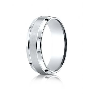 18k White Gold 7mm Comfort-Fit Satin-Finished High Polished Beveled Edge Carved Design Band