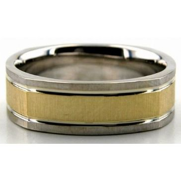 14K Gold Two Tone 6.5mm Square Shape Satin Wedding Bands 227