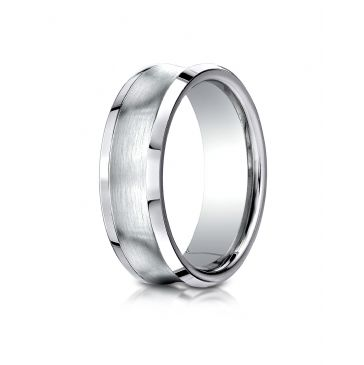 Cobaltchrome 7.5mm Comfort-Fit Satin-Finished Concave Design Ring