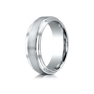 14k White Gold 8mm Comfort-Fit Satin-Finished Step Edge Carved Design Band