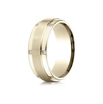 14k Yellow Gold 8mm Comfort-Fit Pave Set 12-Stone Diamond Ring (.12ct)
