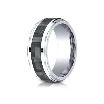 Cobaltchrome 9mm Comfort-Fit Drop Beveled Edge Grey Carbon Fiber  Design Ring