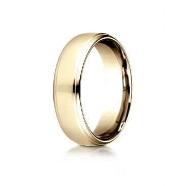 14 Karat Yellow Gold 6.5mm Comfort-Fit Drop Edge High Polish Design Band