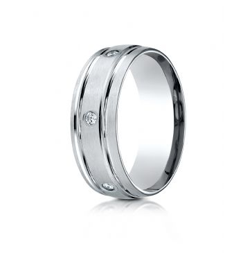 Platinum Gold 8mm Comfort-Fit burnish Set 6-Stone Diamond Eternity Ring (.48ct)