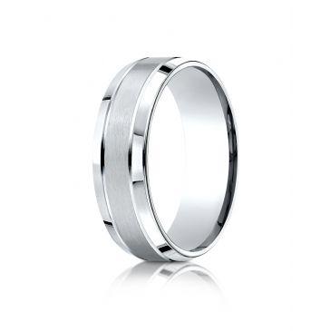 Platinum 7mm Comfort-Fit Satin-Finished High Polished Beveled Edge Carved Design Band
