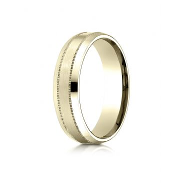 18k Yellow Gold 6mm Comfort-Fit Satin-Finished with Milgrain Carved Design Band