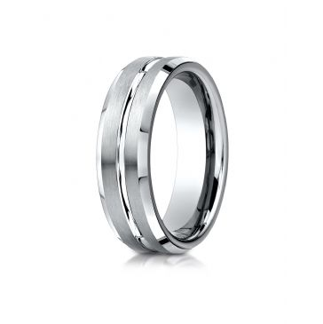 18k White Gold 6mm Comfort-Fit Satin-Finished with High Polished Cut Carved Design Band