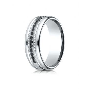 14k White Gold 7.5mm Comfort-Fit Pave Set 16-Stone Black Diamond Ring .32ct