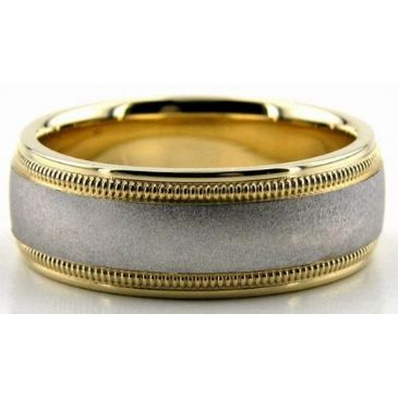 14K Gold Two Tone 7mm Double Milgrain Wedding Bands 229