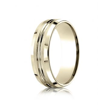 14k Yellow Gold 7mm Comfort-Fit Satin-Finished with High Polished Cut Carved Design Band