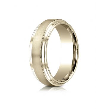 14k Yellow Gold 8mm Comfort-Fit Satin-Finished Step Edge Carved Design Band