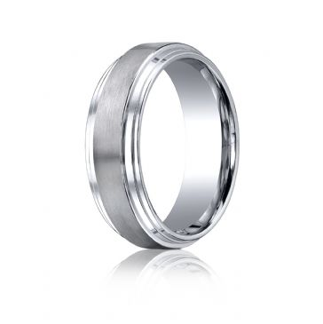 Cobaltchrome 8mm Comfort-Fit Satin-Finished Double Edge Design Ring
