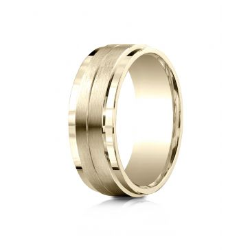 14k Yellow Gold 8mm Comfort-Fit Drop Bevel Satin Center Design Band