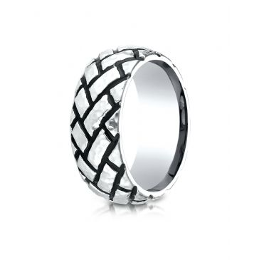 Cobaltchrome 9mm Comfort Fit Ring with Blackened Tread Pattern